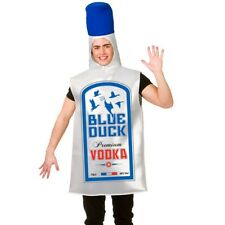 "Mens Adult Vodka Bottle Fancy Dress Costume Blue Duck Voddy Outfit 38-44"" New"