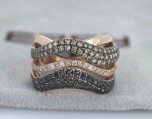 $5,500 BH Effy 14K Rose Gold Champagne White Black Diamond Wavy Ring Band Sz 7.5