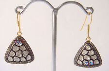 925 Sterling Silver Victorian Antique Rose Cut Polki 3.00 Cts Diamond Earrings