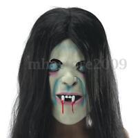 Halloween Horror Long SADAKO Ghost Hair Mask Adult Costume Scary Devil Full