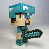 "Notch 6"" Steve Minecraft Diamond Edition Vinyl Toy Figure Figurine With Sword VG"