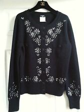 CHANEL 12C NEW TAGS Black Cashmere Jacket Enamel Stud Embellishment FR38 $3815