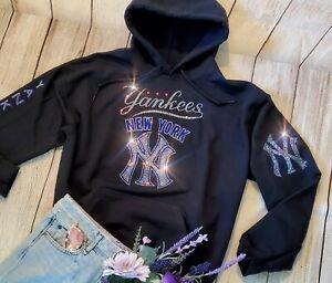 New York Yankees New Unisex Rhinestone Small Hoodie Sweatshirt Women's Bling