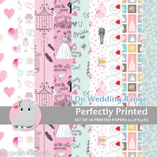 18 Patterned Paper Sq 140mm -Perfectly Printed Craft Paper - I Do Wedding