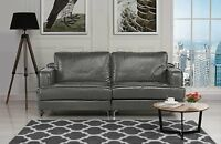 Ultra Modern Plush Leather Living Room Sofa (Grey)