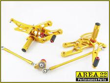 2003-2006 Honda CBR600RR Area 22 CNC Adjustable Rear Sets Footpegs Gold Rearsets
