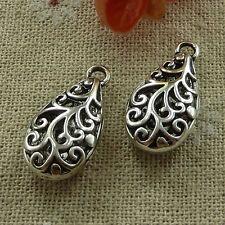 free ship 60 pieces tibetan silver nice hollow charms 24x12mm #2709