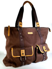 """New BODHI LARGE Work Bag Tote 17"""" Office Bag BROWN Canvas & LEATHER *PRIMO*"""