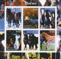 HORSES ANIMALS IN DIFFERENT SETTINGS TADJIKISTAN 2000 MNH STAMP SHEETLET