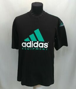 Vintage 90s Adidas Equipment EQT Spell Out Black T-Shirt Big Logo Crew Neck Sz M