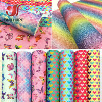 Rainbow Glitter Fabric Sparkle Shiny Leather Craft Material Bows Decor DIY