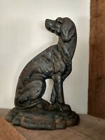 """Large Vintage Cast Iron Hound Dog Doorstop Heavy (7.5 pounds) 11.5"""" tall"""