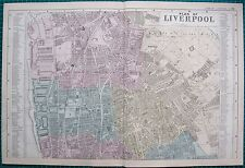 1883 Antique Map Large Street Plan Liverpool Nth Everton Docks Etc Victorian Discounts Price Maps, Atlases & Globes Antiques