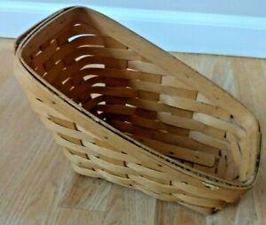 Longaberger Slanted Basket Vintage Signed 1999 Brown Hand Woven Fruit Vegetable