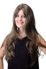 Parrucca da Donna Lunga Liscia Frangia a Strati Castano Misto con Meches 1ad841ea7e11