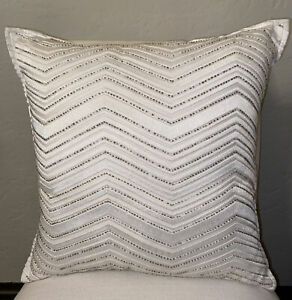 "Hotel Collection Ivory Embroidered & Beaded 18"" x 18"" Decorative Pillow Ex Cond"