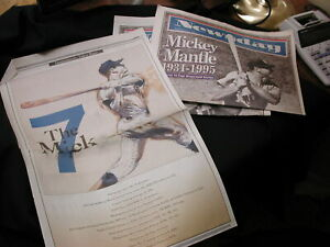 Mickey Mantle 1931-1995 special edition newspaper coverage