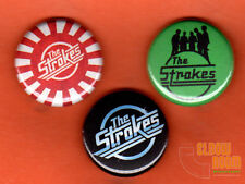 "Set of three 1"" The Strokes pins buttons rock band alt"