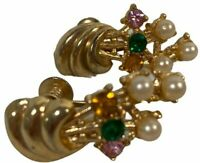 Vintage Pearl And Rhinestones Beads Dome Screw Back Clip Formal Earrings
