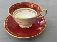 Aynsley John 2937 Maroon Red Footed Cup Saucer Set~Gold Lace Design on White
