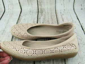 Clarks Collection Danelly Art Blush Perforated Slip-On Flat Shoes Size 9 M