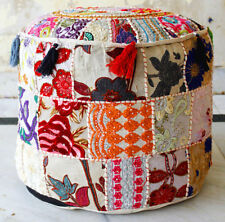 Indian Handmade White Round Pouffe Cover Vintage Footstool Ottoman Patchwork