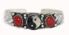 Ying Yang Bracelet Jasper Bracelet Cuff Bracelet Silver Bracelet Boho Tribal