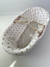 Natural Straw Baby Moses Basket Travel Carry Bed with White Pink Bedding