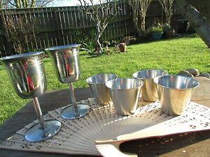 Vintage Stainless Steel Stirrup Cups & Goblets bundle