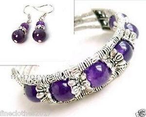 Ladies Jewelry Tibet Silver Bangle Amethyst Bracelet Woman Earrings Set