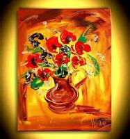 RED FLOWERS   PAINTING  Abstract Modern CANVAS Original Oil VRTH6RI
