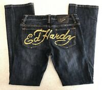 Ed Hardy Christian Audigier Boot Jeans Slim Modern Cut Womens 29 Dark Blue Denim