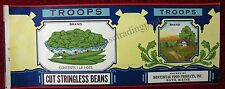 Bath Maine Montsweag Food Products, Inc. Troops Cut Stringless Beans Label
