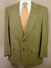 Neiman Marcus Blazer 42R Taupe Houndstooth Plaid 2 Buttons Made USA Sport Jacket