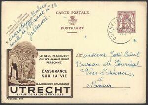 Belgium 65c pictorial advertisement postal card Utrecht Life Insurance used 1948