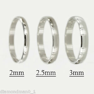 Platinum Wedding Ring D Shape 2mm 2.5mm 3mm New 950 Hallmarked