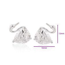 Lovely 18K White Gold Filled Crystal Womens Swan Stud Earrings Jewelry