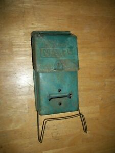 Rustic Vintage Green Metal Mailbox wall mount
