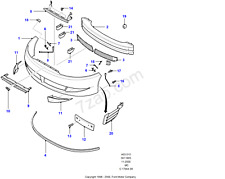 1121086 Ford Cougar Radiator Grille And Front Bumper Reinforcement