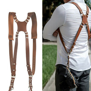 Double Dual Shoulder Belt Harness Holder Camera Adjustable Neck Strap Leather UK