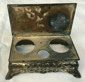 Antique Silver Plate Clover Hinged Lid Inkwell with 2 wells