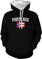 Puerto Rico Faded Distressed Flag Boricua Country Pride 2-tone Hoodie Pullover