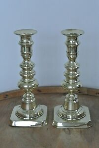 Pr Quality Victorian brass candlesticks c1860-80  with pushers C238