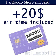 Koodo Micro sim card Prepaid +20$ temps d'inclus / +20$ air time included