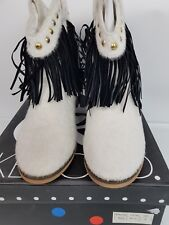 Ladies Kerold Black Slip-On Ankle Boots With Tassels, Gold Studs, White Faux Fur