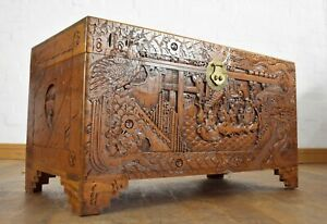 Antique Style Carved camphor wood oriental travelling chest - blanket box