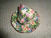 Rosina Chintz ware tea cup saucer gold trim various spring flowers vibrant color