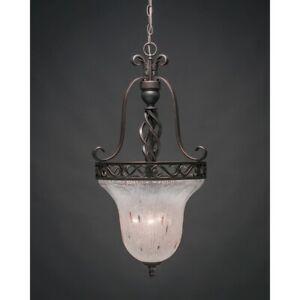 Toltec Lighting Elegante Foyer, 3 Bulbs, Frosted Crystal Glass - 861-DG-7111