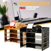 Desktop Storage Rack Bookshelf Office Table Desk Pen Organizer Rack Mirror Stand