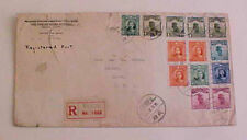 CHINA  COVER 10 or MORE STAMPS 12-10-1921 REGISTERED CHENGFU TO USA